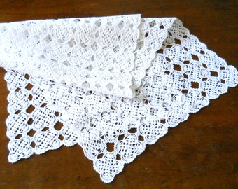 vintage table runner vintage French tablecloth french table runner crocheted table runner crocheted doily