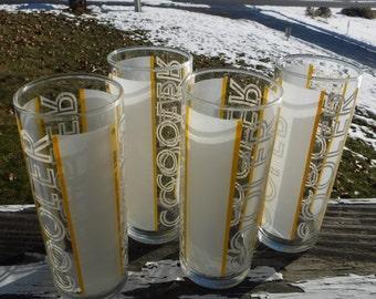 "Libbey Cooler Glasses, Yellow Stripe, 2-3/8"" Diameter x 6"" Tall, Set of 4"