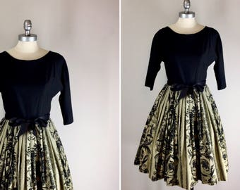 1950s Baroque Print Dress / 50s Cotton Dress with Printed Skirt