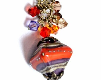 Lampwork and Swarovski Pendant-Desert Sunset