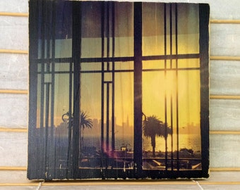 "Golden Afternoon, View of San Francisco from Treasure Island - Distressed 7""x7"" Square Photo Transfer on Wood"