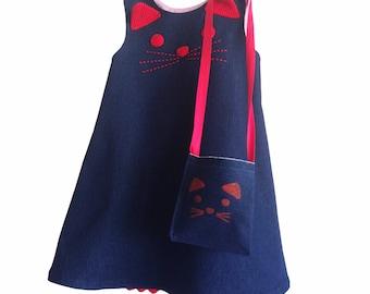 denim kitty dress, denim cat dress, girls clothing, gifts for girls, cat dress with with bag, for girls, made in spain, spanish clothes