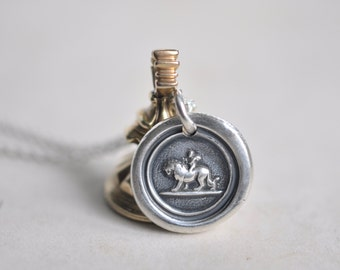 winged cupid subduing a lion wax seal necklace pendant - love conquers all - silver antique wax seal jewelry