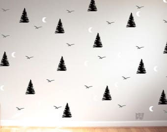 Boys Room Decor. Forest Wall Decals. Tree Wall Decals. Animal Decals. Moon Wall Decal. Nursery wall decals. Nature Decor.