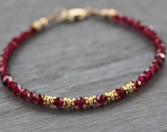 Garnet Beaded Bracelet With Gold Beads, Garnet Gemstone Bracelet, January Birthstone, Boho Stacking Bracelet, Valentine's Gift For Her