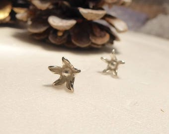 Star Blum Sterling Silver flower Stud Earrings studs - small flower earrings in sterling silver 925 - Flower earposts, bridal jewelry, bloom