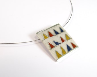 Sterling Silver Pendant - Primary Colors Triangles - OOAK - Blue Yellow Red White