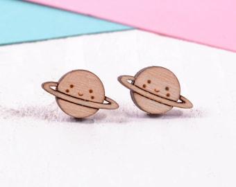 Planet Earrings / Kawaii Earrings / Space Earrings / Saturn Stud Earrings / Cute Earrings