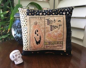 Halloween Embroidered Pillow - Whimsical Halloween Decoration - Candy Corn - Pumpkin Stitchery - Halloween Room Decoration - Chalk Art