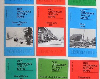 Fifteen Godfrey vintage ordnance survey maps