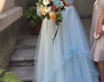 Blue butterfly wedding dress