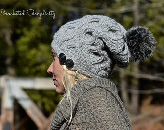 Crochet Pattern: Hourglass Cabled Beanie & Slouch, Teen/Adult, Permission to sell finished items only