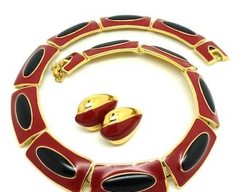 Vintage 1980s Necklace | Vintage Monet Necklace | Red Necklace | Black Necklace | Choker Necklace | Collar Necklace | Enamel Necklace