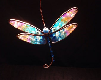 Blue and Pink Dragonfly stained glass suncatcher
