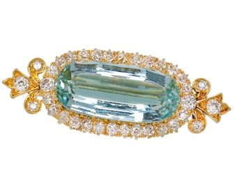 Edwardian Antique Aquamarine Diamond Brooch East West Engraved Dated 1864 to 1894 Old Mine Cut Diamonds Yellow Gold  || 18101