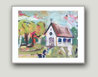 Abstract print, Country Church,  church art, country print
