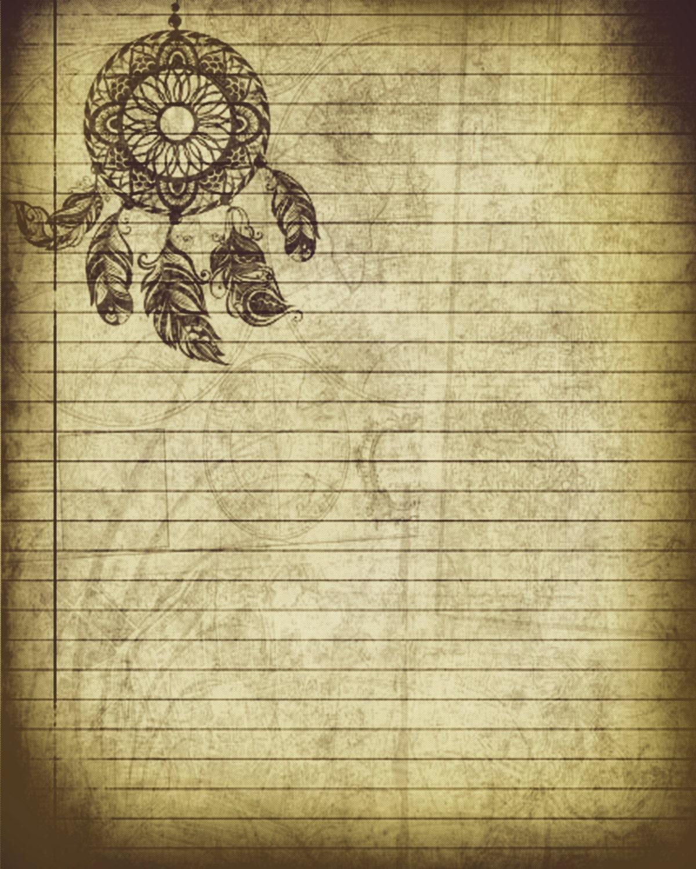 Printable Journal Page Bohemian Dreamcatcher Stationery 8 x