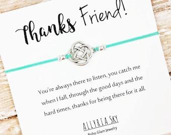 Friendship Bracelet | Friend Thank You Card | Best Friend Bracelet | Friend Thank You Gift | Best Friend Gift | Friendship Gift
