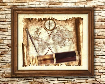 Grunge of world map art decorantique world map printableold antique nautical tool world map decor parchment art map digitalold map decor gumiabroncs Image collections