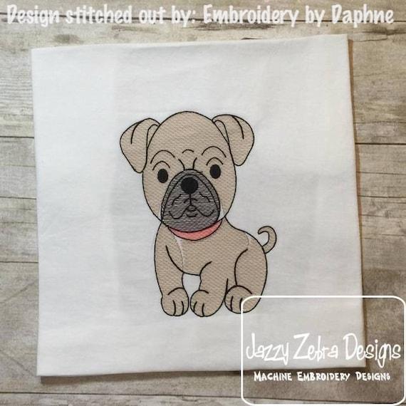 Pug sketch embroidery design - dog sketch embroidery design - dog embroidery design - Pug embroidery design - vintage stitch embroidery