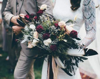 dried flower bouquet, custom dried bridal bouquet, red and white bouquet, red bridal bouquet, jewel tone bouquet, blush and burgundy bouquet