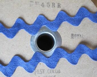 Vintage Cotton Ric Rac - Royal Blue - 3/4 Inch - 5 Yards - 6 Dollars