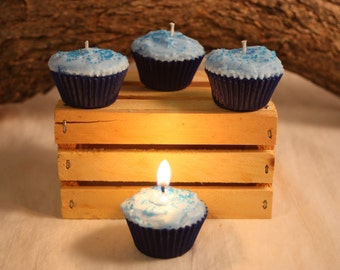 Mini Blueberry Cupcake Candle, Fake Food, Blueberry Scented Candle, Cupcake Favors