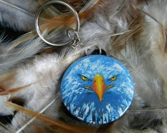 Blue Eagle key chain / / animal / / painting / / table / / gift / / gift for her / / women / / bag / / look / / White / / Eagle