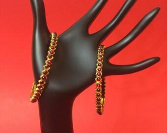 Traditional Kemp temple jewelry Bangles for Bharatnatyam, Kuchipudi, Parties, Engagement, Weddings, Birthdays etc.
