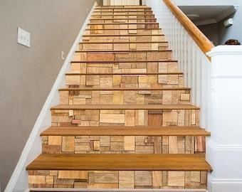 Delightful 3D Wood Box Pattern View 25 Staircase Stairway Stairs Risers Stickers Mural  Photo Mural Vinyl Decal