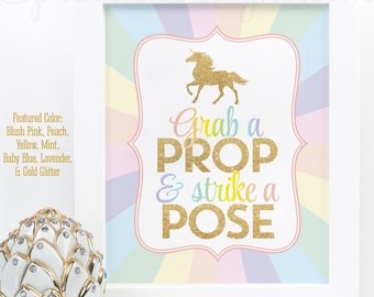 Unicorn Party Photo Booth Props Sign, Unicorn Party Printable Sign, Grab A Prop & Strike a Pose, Rainbow Unicorn Birthday Party Decorations