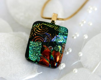 Square Layered Dichroic Fused Glass Pendant Necklace Jewelry 01120, GetGlassy