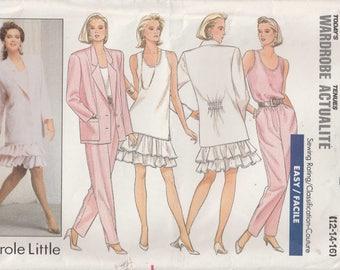 Ruffled Skirt Pattern Drop Waist Jacket Pants Misses Size 12 - 14 - 16 Uncut Butterick 5947 Wardrobe