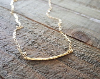 Bar Necklace, Gold Necklace, Layering Necklace, Hammered Curved Bar Necklace, Gold Jewelry