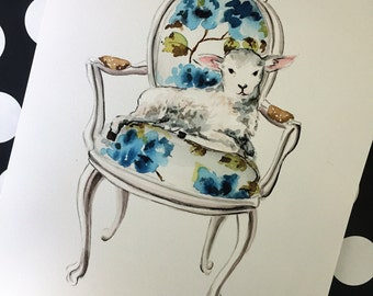 Lamb Watercolor Print