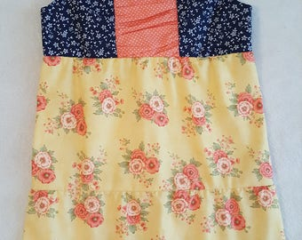 Coral Floral Dress,, size 2