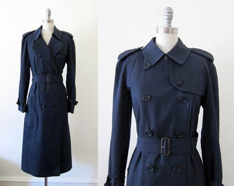 1980s vintage navy blue Burberry belted double breasted long trench coat L