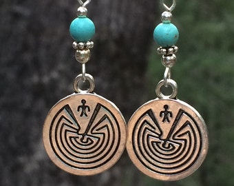 Native American earrings, tribal, labyrinth, southwestern, Native American jewelry, turquoise, Hopi