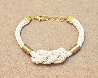 Knot bracelet, nautical bracelet with knot and tubes, knit bracelet with brass tubes