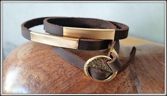 Leather Gold Bracelet, Gold Leather Wristband, Mens Cuff Bracelet, Adjustable Leather Cuff, Unisex Cuff Bracelet, Unisex Wrap Bracelet