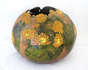 Golden Prickly Pear Gourd Bowl  (1735)