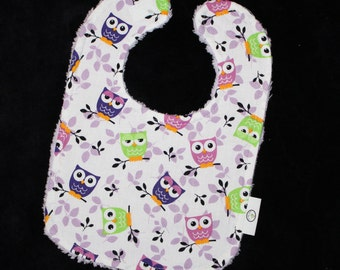Lavender and Green Owls Fabric and Chenille Boutique Bib