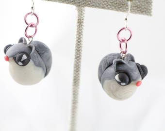 Japanese Flying Squirrel Earrings Polymer Clay