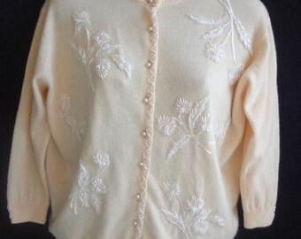 Vintage 1950s Angora Hand Beaded  Hong Kong Sweater  White on Cream   Silk LIning  medium