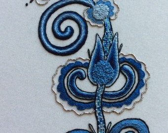 Embroidery kit, hand stitching, DIY kit, sampler, doodle, hand embroidery, home deco - Blue China