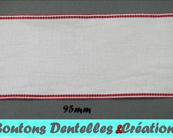 Band embroidery Aida - white - red border - 95mm (BAB-07)