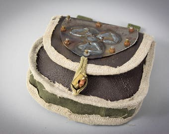 Post Apocalyptic Bag - Leather Belt Bag - Leather Fanny Pack - Tribal Gift - Accessory Cases - Hip Bags - Ethnic Pouch - Leather Hip Bag