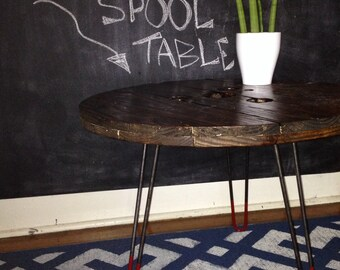 wooden spool coffee table.