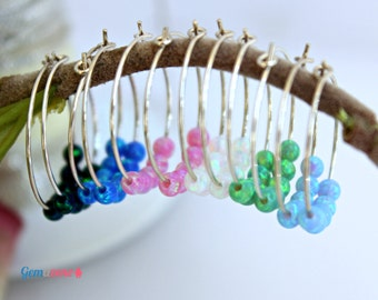 Small Hoop Earrings, opal Hoop Earrings, Sterling silver dangle earrings, Gypsy Hoops, Tribal earrings, October Birthstone, opal jewelry