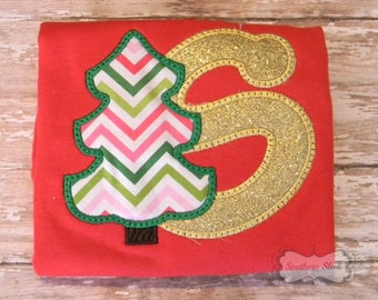 Christmas Tree With Initial in Gold Glitter Embroidered Shirt or Bodysuit in Red